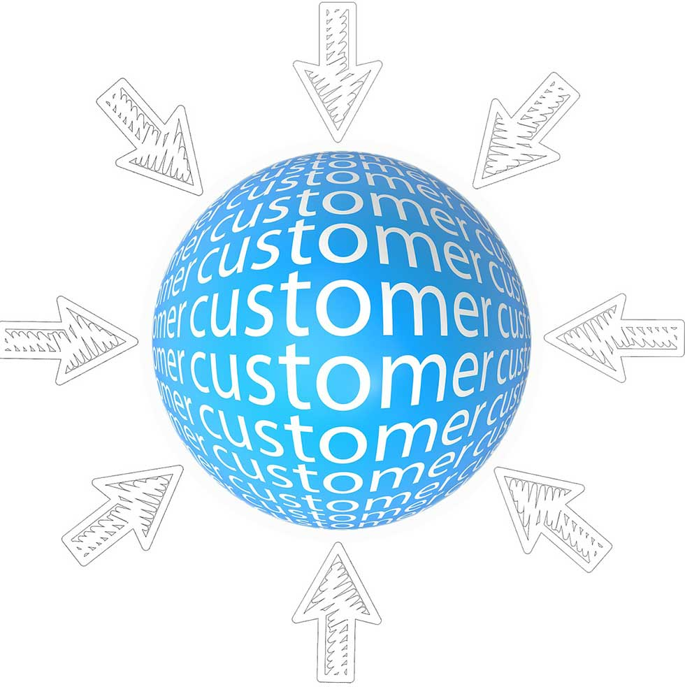 Graphic Showing arrows towards Customer