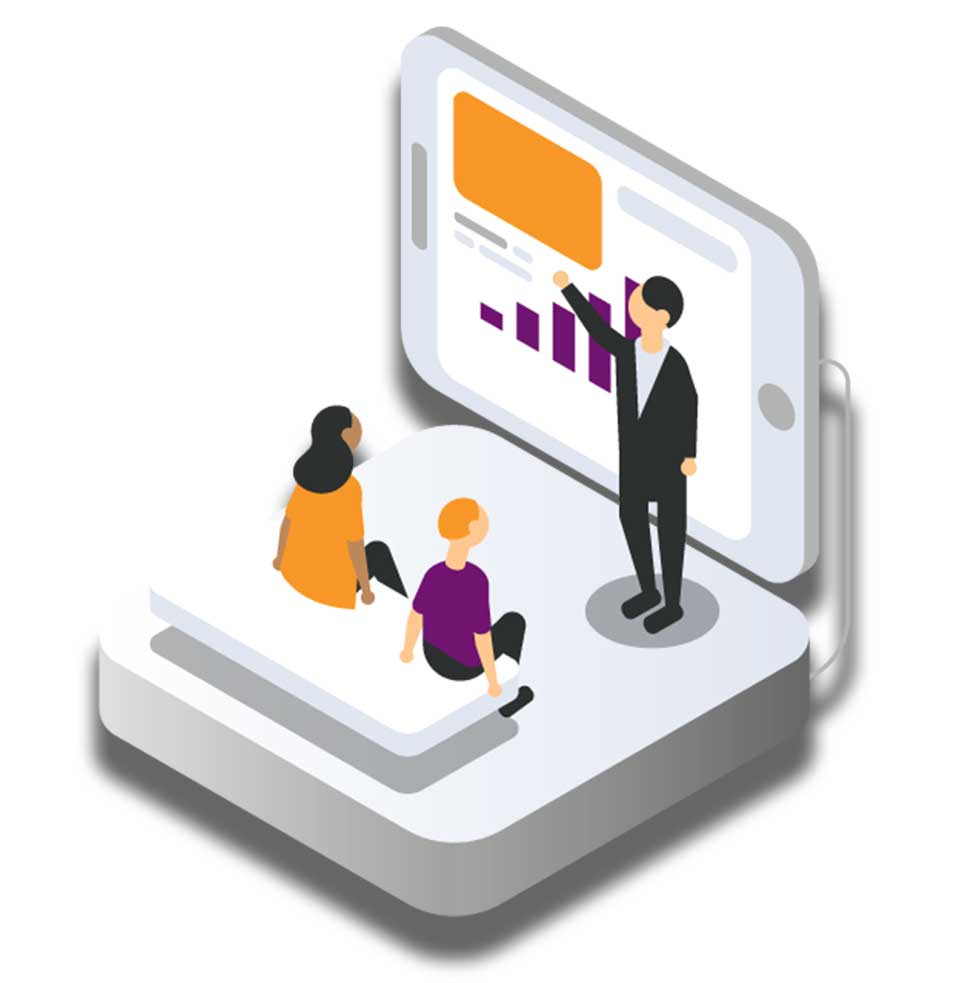 Graphic Showing a Digital Presentation to Employees