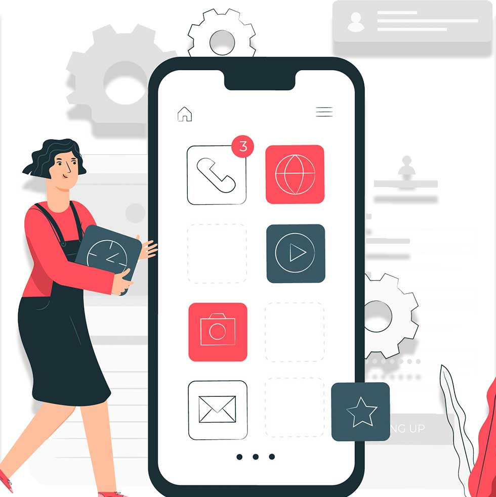 Graphic with Life Size Smart phone and woman
